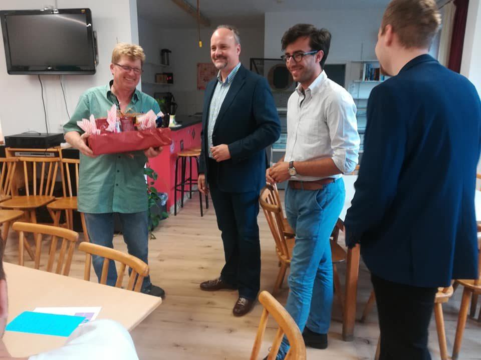 v.l.n.r.: Leiter Ralf Sander, Landtagskandidat Markus Kubatschka, Landtagslistenkandidat Martin Valdés-Stauber